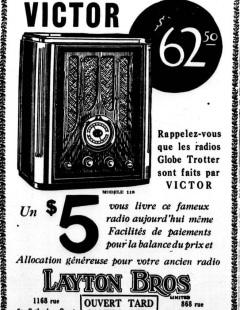 Publicité montréalaise, Layton Bros, 1934