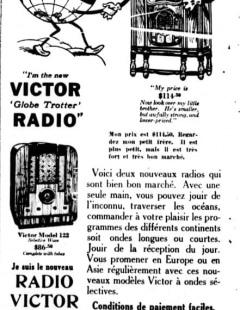 Publicité montréalaise, Radio Victor, 1934