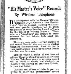 Annonce du concert sans fil, 1920