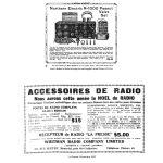 Petits annonces de radios Northern Electric (Eaton's Bulletin 1923-1924) et De Forest (La Presse, déc 1922)